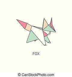 géométrique, style, plat, renard, figure, origami, contour
