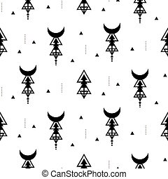 géométrique, tribal, sacré, vecteur, triangle, style, simple, pattern., géométrie, texture., seamless, fond, monochrome, shapes.