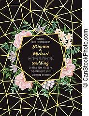 géométrique, verdure, fleurs, invitation, cadre, mariage
