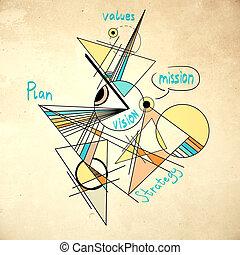 géométrique, vision, croquis