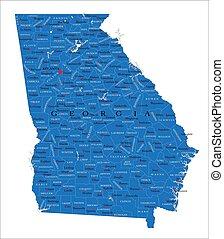 géorgie etat, politique, carte