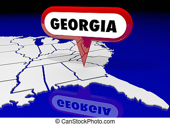 géorgie, ga, carte état, épingle, emplacement, destination, 3d, illustration