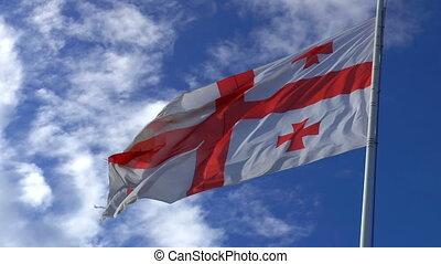 géorgien, drapeau, vent