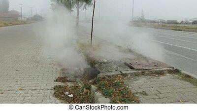 géothermique, engendré, vapeur, vapeur, chaud, zones, eau
