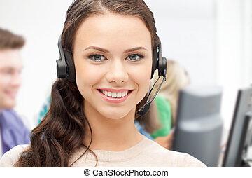 gépész, helpline, fejhallgató, hívás összpontosít