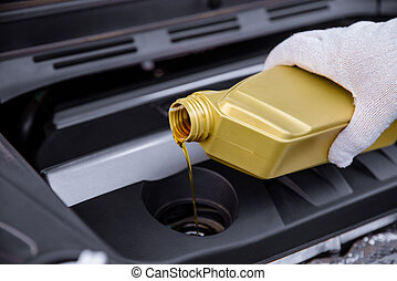 gép, öntés, olaj, autó
