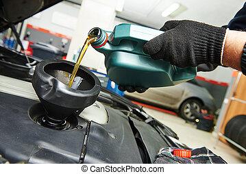gép, öntés, olaj, szerelő, autó motor