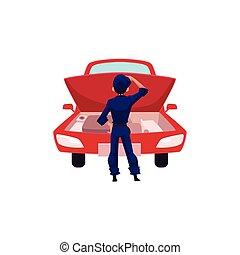 gép, autó, látszó, autó, repairman, szerelő