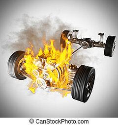 gép, autó, tol, alváz, égető