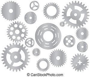 gép, bekapcsol tol, cogwheel, vektor