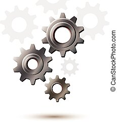 gép, bekapcsol tol, cogwheel, vektor, ikon