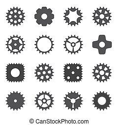 gép, bekapcsol tol, cogwheel., vektor, illustration.