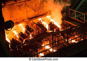 gép, berendezés, metallurgical, öntvény, folyamatos