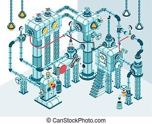 gép, bonyolult, bonyolult, elvont, 3, isometric, ipari