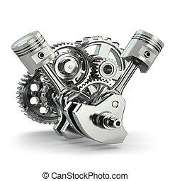 gép, concept., fogaskerék-áttétel, és, pistons.