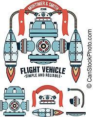 gép, fantasztikus, repülés, reagens