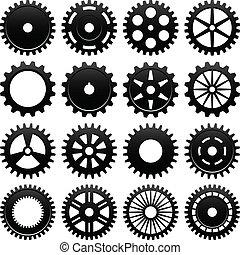 gép, gördít, cogwheel, bekapcsol