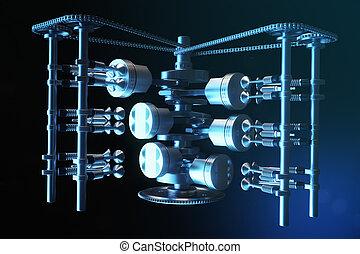 gép, gyulladás, beszerzés, alkatrészek, dugattyúk, motion., belsőrész., dugattyúk, system., belső, ábra, v6, autó, fűtőanyag, crankshaft, engine., crankshaft, 3