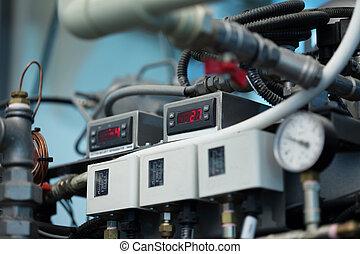 gép, indikátor, lövés, hőmérséklet, automatizált