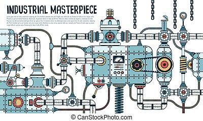 gép, ipari, bonyolult, hihetetlen