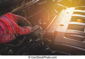 gép, jármű, rendbehozás, kéz, sapka, olaj, szolgáltatás, fenntartás, mechanika, autó, nyílik, garage.