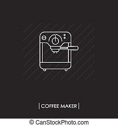gép, kávécserje, ikon, elszigetelt, áttekintés