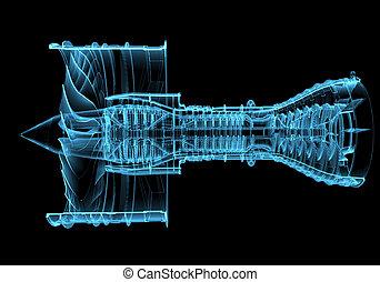 gép, kék, sugárhajtású repülőgép, (3d, transparent), xray,...