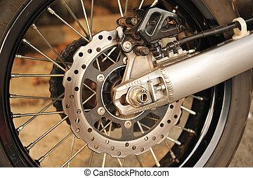 gép, korong, fékez, motorkerékpár