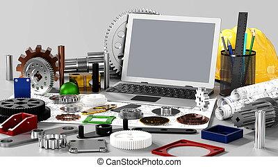 gép, mérnök-tudomány, tervezés, mechanikai