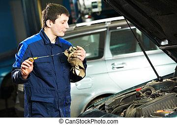 gép, megvizsgál, olaj, szerelő, autó motor