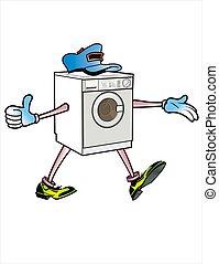 gép, mosás, karikatúra