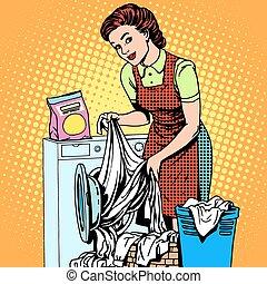 gép, nő, mosás, megmosakszik, öltözék