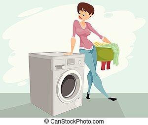 gép, nő, mosás