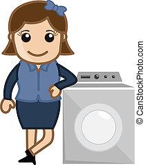 gép, nő, mosás, vektor
