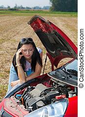 gép, nő, neki, autó, megszakadás, balsiker, le., kap