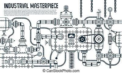 gép, nagy, ipari, steampunk
