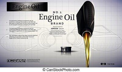 gép, oil., olaj, palack, folyik