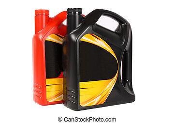 gép, palack, két, olaj