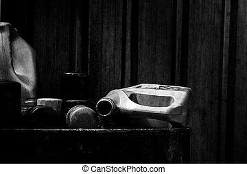 gép, puskacső, olaj, dobozba csomagol