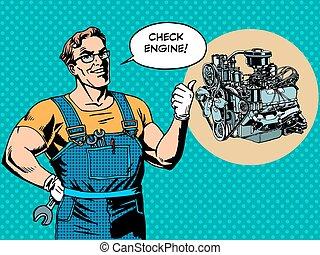 gép, rendbehozás, autószerelő, móka, ellenőriz