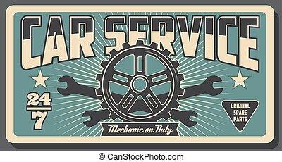 gép, rendbehozás, bekapcsol, szolgáltatás, autó, autó, spanner.