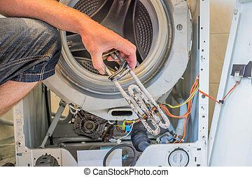 gép, rendbehozás, mosás