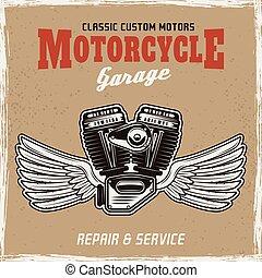 gép, színezett, poszter, motorkerékpár, kasfogó, retro