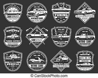 gép, szüret, rész, jármű, retro, autó, autó, kímél