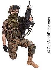 gép, tengerészgyalogság, pisztoly, bennünket