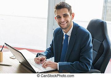 gépelés, üzletember, számítógép