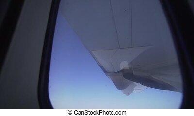 gépel, kék, turbina, propeller-driven, gép, sky., repülőgép,...