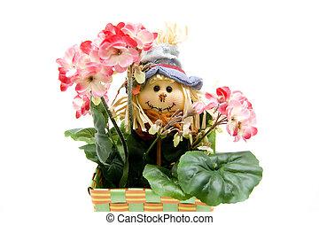 géranium, jardinier, poupée