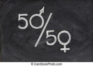 gênero, oportunidade igual, ou, representação