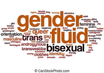 gênero, palavra, fluido, nuvem